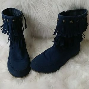 Comfortview fringed blue bootie boots sz 8.5